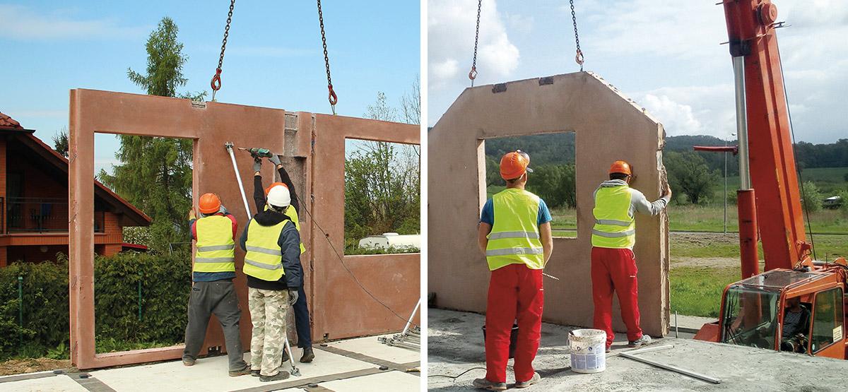 ekipa budowlana na placu budowy domu jednorodzinnego z prefabrykatów keramzytowych